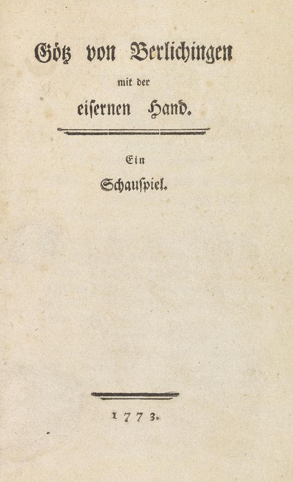 Johann Wolfgang von Goethe - Götz von Berlichingen mit der eisernen Hand. 1773
