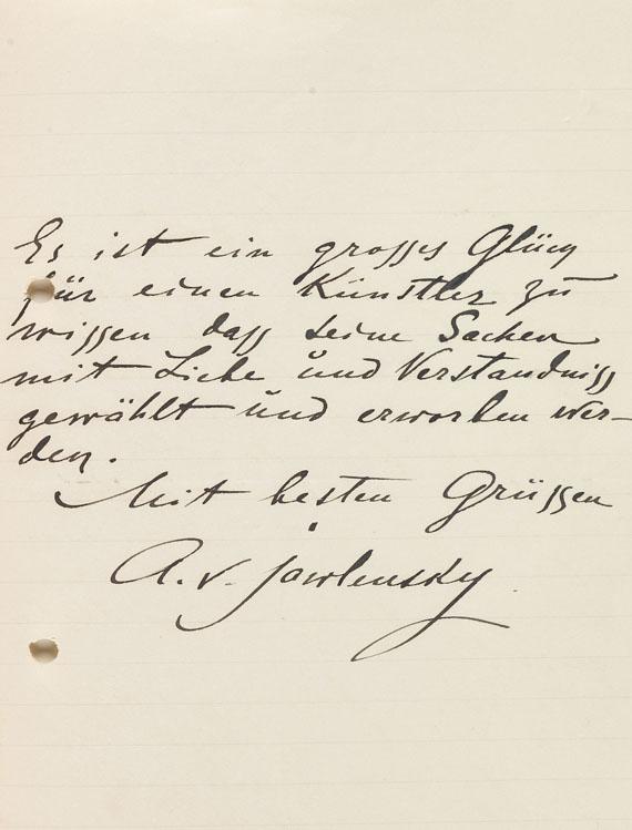 Alexej von Jawlensky - 2 eigh. Briefe m. U. 1912. - Weitere Abbildung