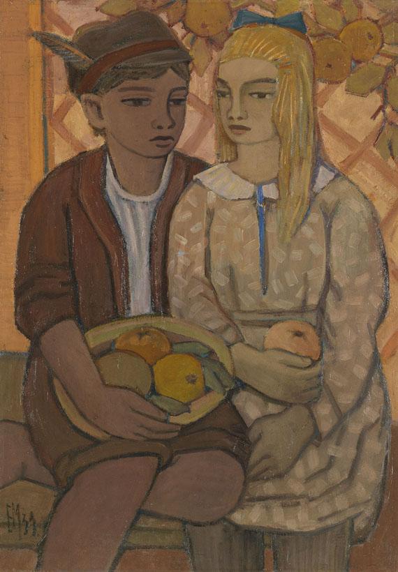Emil Maetzel - Zwei Kinder mit Früchten