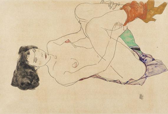 Egon Schiele - Liegender weiblicher Akt mit angezogenen Beinen