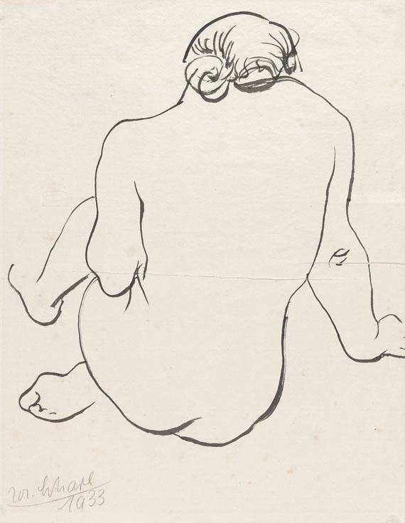 Josef Scharl - Hockender weiblicher Rückenakt nach rechts