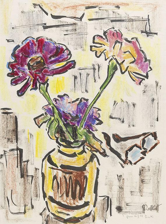 Karl Schmidt-Rottluff - Zinnien in Vase