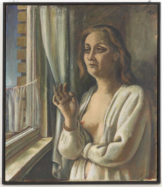 August Wilhelm Dreßler - Frau am Morgen (Am Fenster) - Rahmenbild