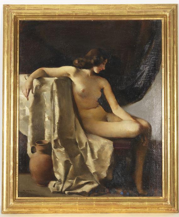 Rudolf Nissl - Sitzender weiblicher Akt in elegischer Stimmung - Rahmenbild