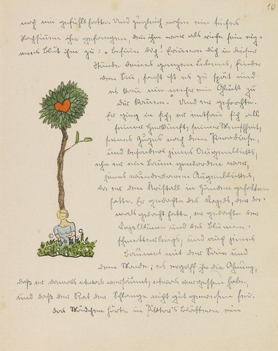 Hermann Hesse - Piktors Verwandlungen. Orig.-Manuskript mit Aquarellen. 1934. Dabei: Brief an Schadow. - Weitere Abbildung
