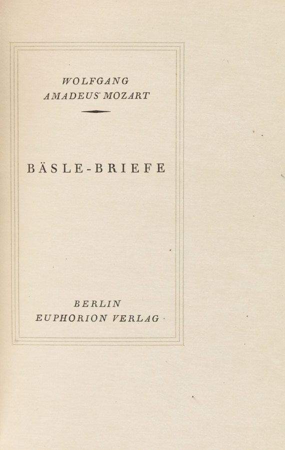 Wolfgang Amadeus Mozart - Bäsle-Briefe. 1923