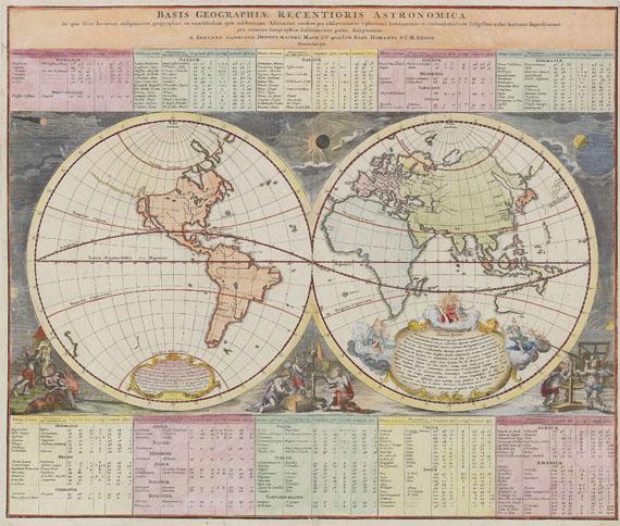 Weltkarte - 1 Bl. Basis geographiae recentioris astronomica.