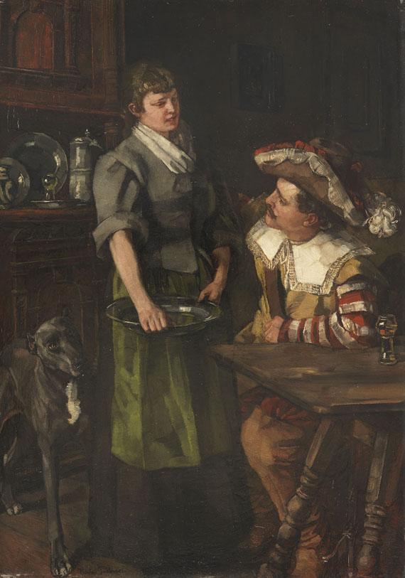 Wilhelm Trübner - Zechender Landsknecht mit Serviermädchen