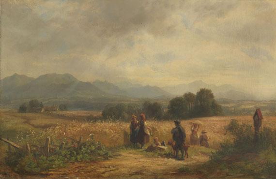 Adolf Heinrich Lier - Erntetag in Oberbayern bei Habach