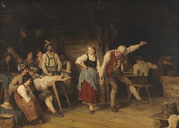 Franz von Defregger - Großvaters Tanzunterricht