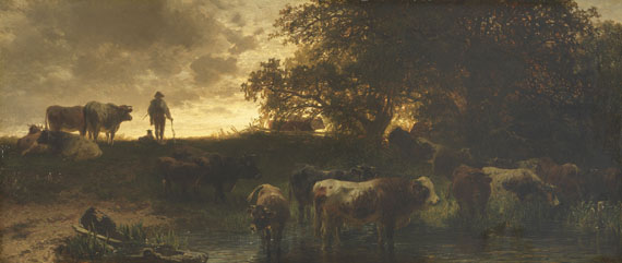 Friedrich Voltz - Rinderherde an der Tränke