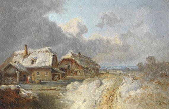 Heinrich Bürkel - Die Häuser von Forstenried im Winter