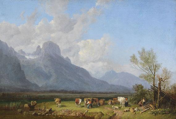 Heinrich Bürkel - Viehhirten am Seeufer