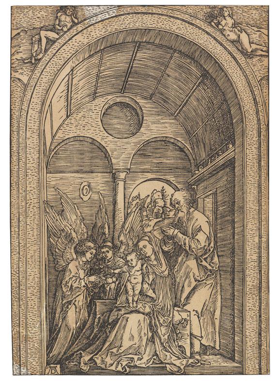 Albrecht Dürer - Die Heilige Familie mit zwei Engeln in der gewölbten Halle