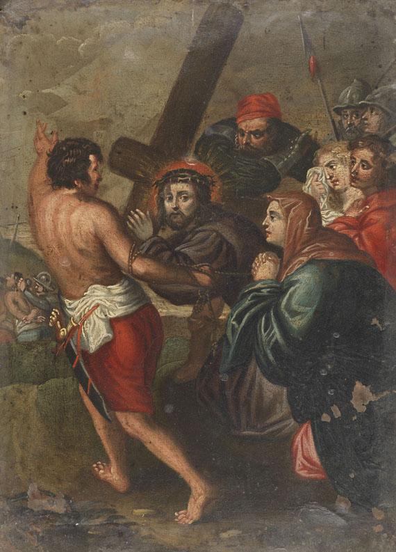 Süddeutschland - Kreuzwegtafel: Jesus begegnet den weinenden Frauen