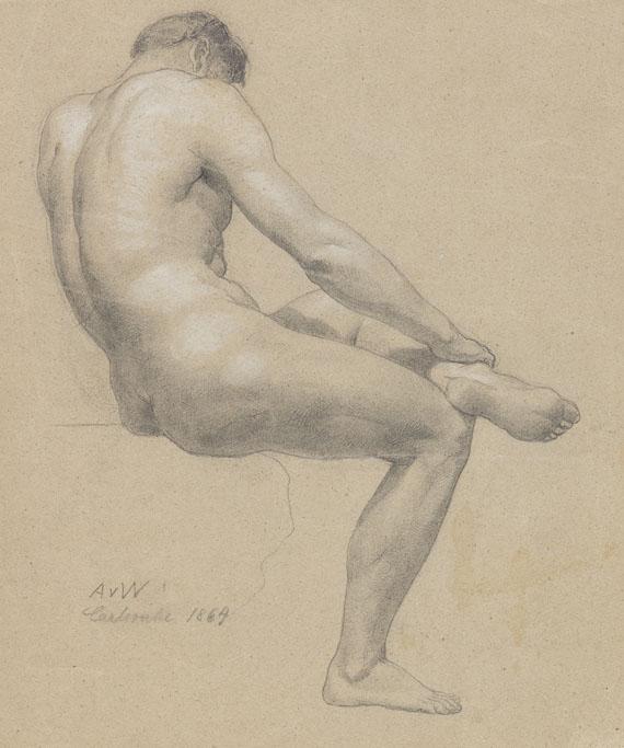 Anton von Werner - Männliche Aktstudie