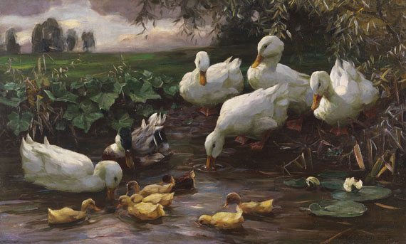 Alexander Koester - Erpel mit Enten und Küken am Seeufer