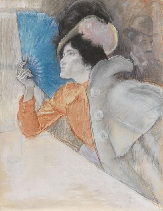 Louis August Mathieu Legrand - Die Dame mit dem blauen Fächer