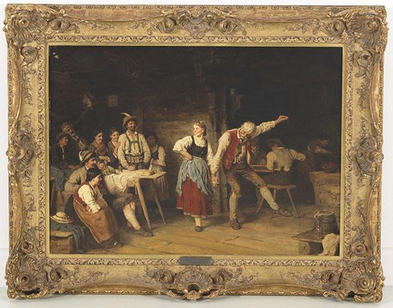 Franz von Defregger - Großvaters Tanzunterricht - Rahmenbild