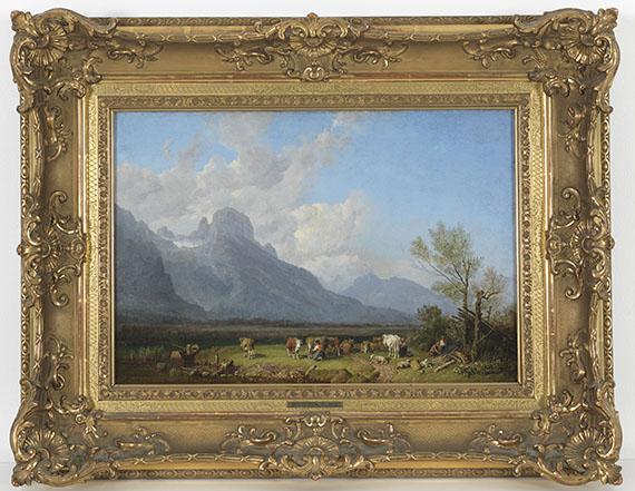 Heinrich Bürkel - Viehhirten am Seeufer - Rahmenbild