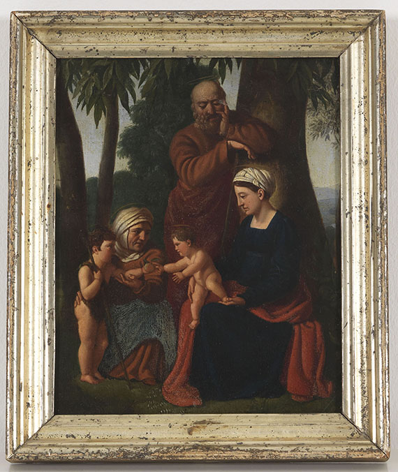 Nazarener - Die Heilige Familie mit der heiligen Elisabeth und dem Johannesknaben - Rahmenbild
