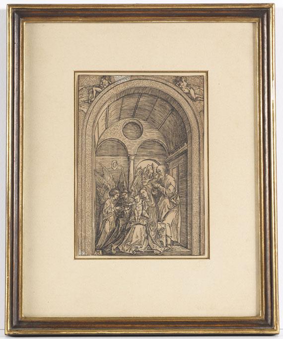 Albrecht Dürer - Die Heilige Familie mit zwei Engeln in der gewölbten Halle - Rahmenbild
