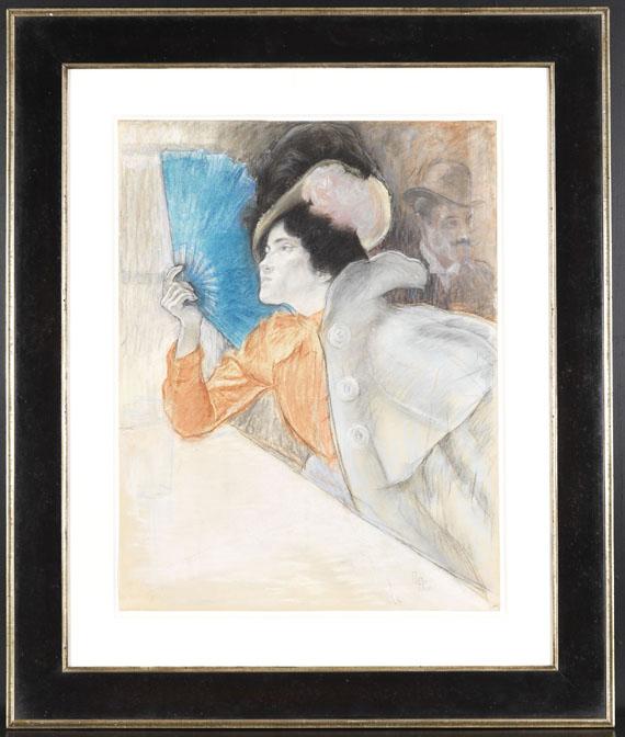 Louis August Mathieu Legrand - Die Dame mit dem blauen Fächer - Rahmenbild