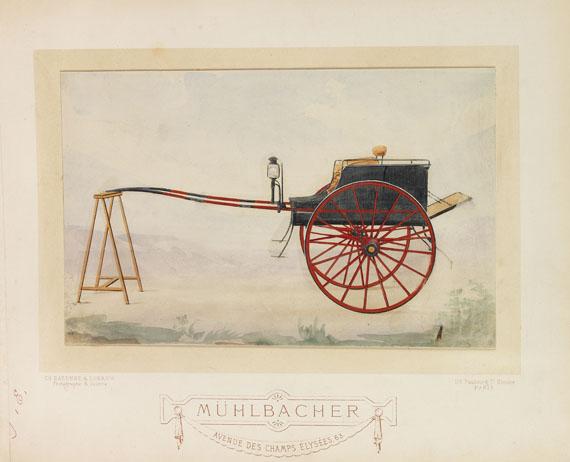 Kutschen - Album mit 30 kolor. Fotografien der Fa. Mühlbacher.  - Dabei: Ridinger, Taschenb. für Einspänner. - Weitere Abbildung