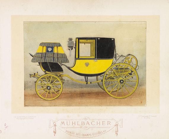 Kutschen - Album mit 30 kolor. Fotografien der Fa. Mühlbacher.  - Dabei: Ridinger, Taschenb. für Einspänner.