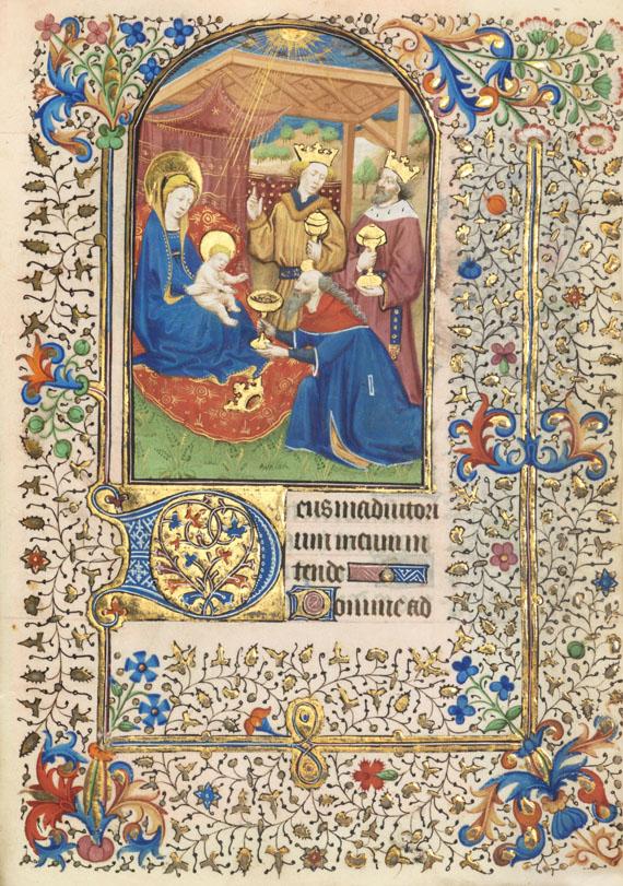 Manuskript - Stundenbuch. Paris um 1450. Manuskript auf Pergament. - Weitere Abbildung