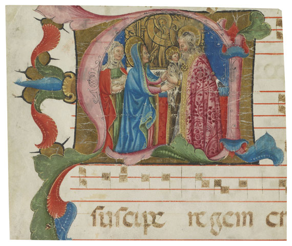 Manuskript - 1 Initiale auf Pergament (ausgeschnitten): Darbringung Jesu, Italien 15. Jh.