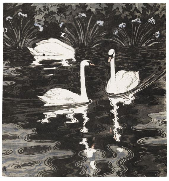 Otto Eckmann - Drei Schwäne auf dunklem Gewässer