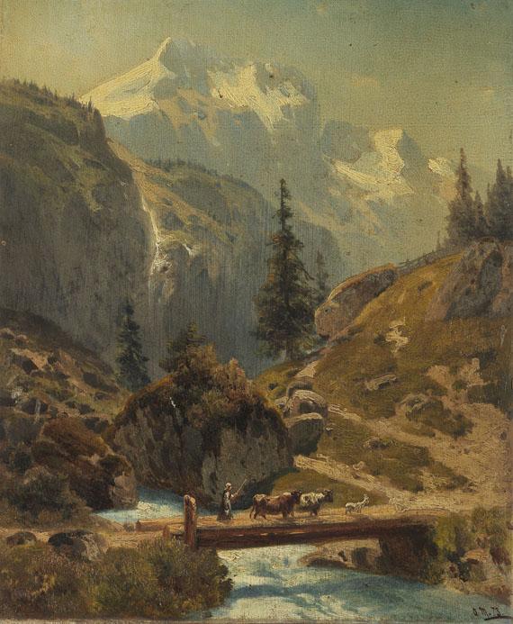 Adolf Conrad Mosengel - Gebirgsbach im Hochgebirge