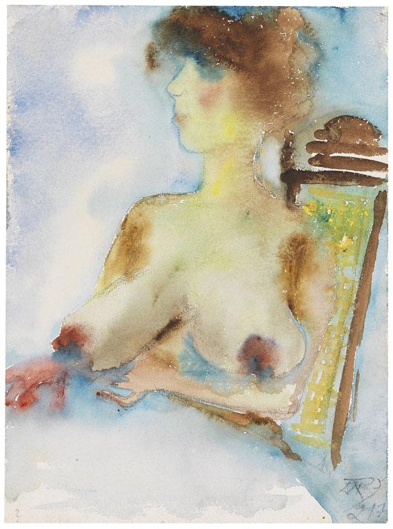 Otto Dix - Mädchenhalbakt am Tisch