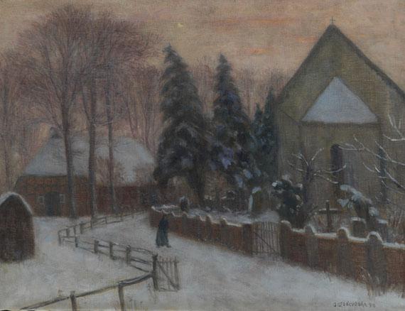 Otto Modersohn - Winterabend, Fischerhuder Kirche mit Heimathaus