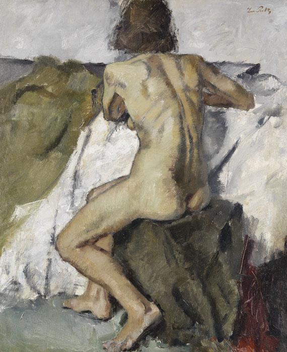 Leo Putz - Sitzender weiblicher Rückenakt
