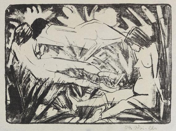 Otto Mueller - Sitzendes und zwei liegende Mädchen im Gras (Drei Akte)