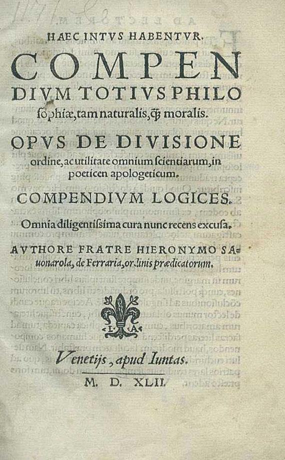 Girolamo Savonarola - Compendium