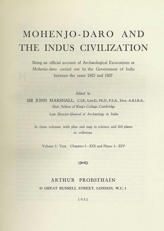John Marshall - Mohenjo-Daro and the Indus civilization. 3 Bde.