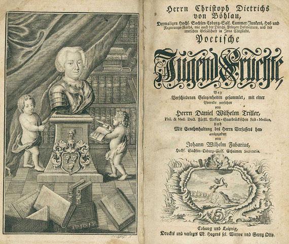 Böhlau, Christoph Dietrich von - Böhlau: Jugend-Früchte. Dabei: Hobes: Curieuse + Gordon: Peters des Großen