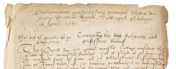 Mary Stuart - Ms. Parliament document (contemp. copy). Edinburgh 1567. - Weitere Abbildung