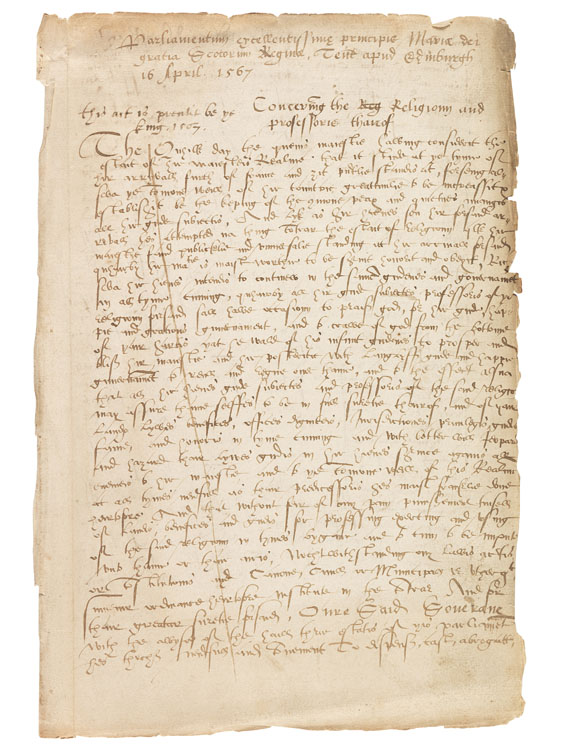 Mary Stuart - Ms. Parliament document (contemp. copy). Edinburgh 1567.