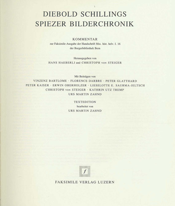 Schilling von Bern, Diebold - Diebold Schillings Spiezer Bilderchronik