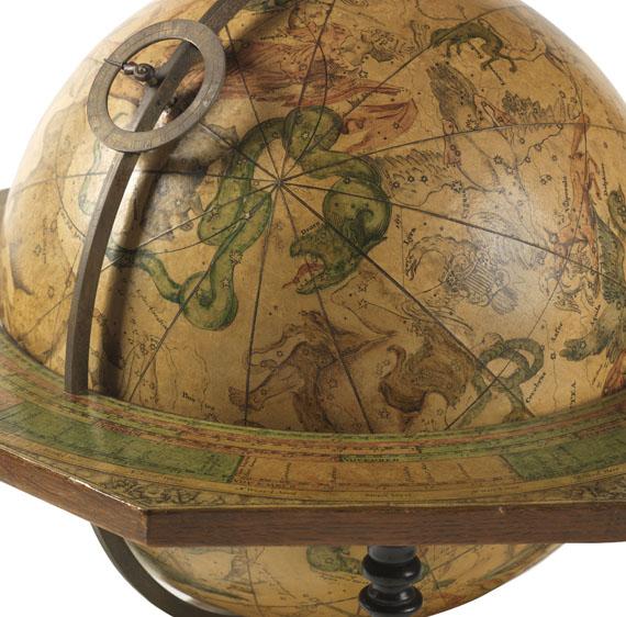 Globus - Pair of Celestial and Terrestrial Globes, 32 cm diameter. J. G. Doppelmayr 1728 (revised ed. by W. P. Jenig, 1789/90). - Weitere Abbildung