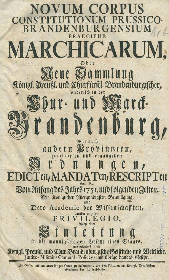 Brandenburg - Novum Corpus Constitutionum Prussico-Brandenburgensium Praecipue Marchicarum. 10 Bde.