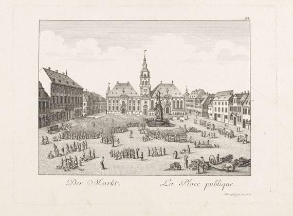 Johann Franz von Schlichten - Vues de Mannheim - Passepartout, Buch, Rolle. 3 Tle.