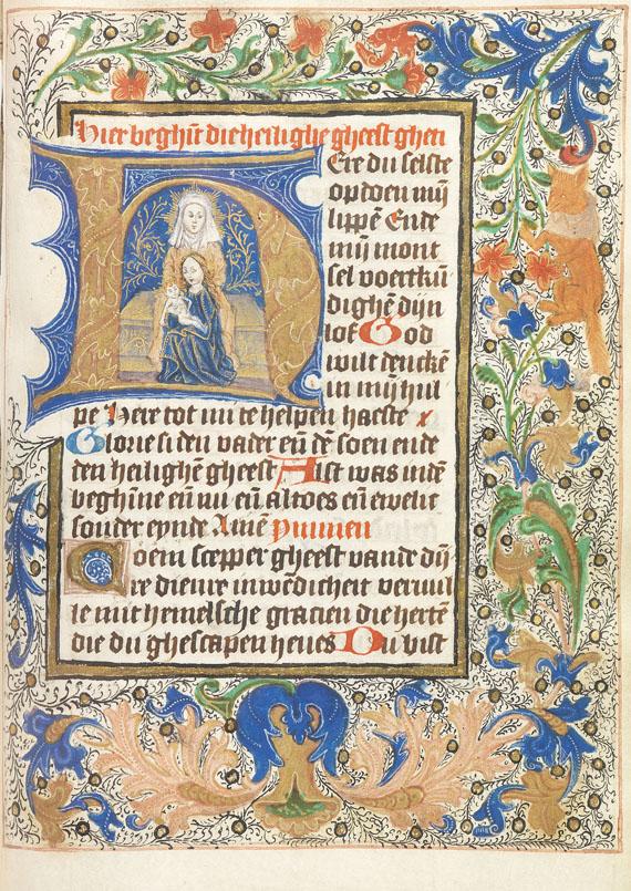Manuskript - Niederländisches Stundenbuch auf Pergament. Um 1470