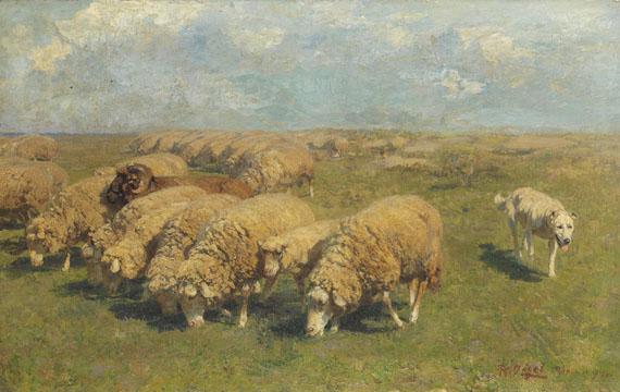 Heinrich von Zügel - Schafherde mit Hütehund auf der Weide