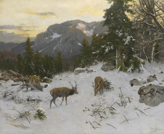 Josef Schmitzberger - Hirsche im winterlichen Gebirge