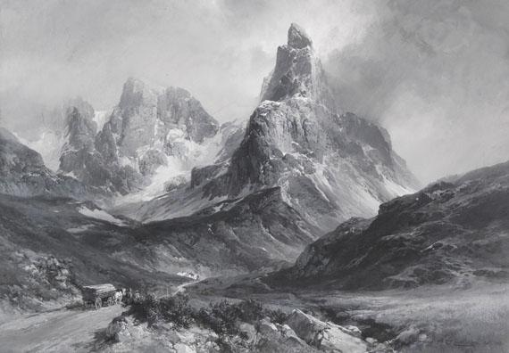 Edward Theodore Compton - Der Cimon della Pala in den Dolomiten, gesehen vom Rollepass aus